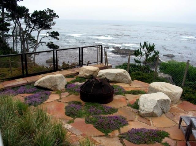 terrassengestaltung mit steinboden