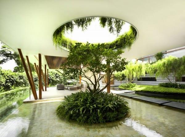 minimalistisches haus design mit überdachter terrasse und dachgarten