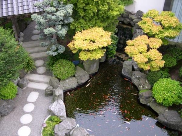gartengestaltung mit teichbecken und wasserfall-gartenweg mit runden weißen steinen