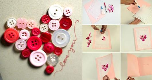 geschenkkarte mit Knopfen-deko selber machen