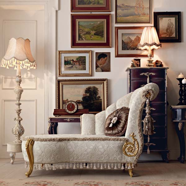 liegesessel weiß -barock einrichtungsidee wohnzimmer