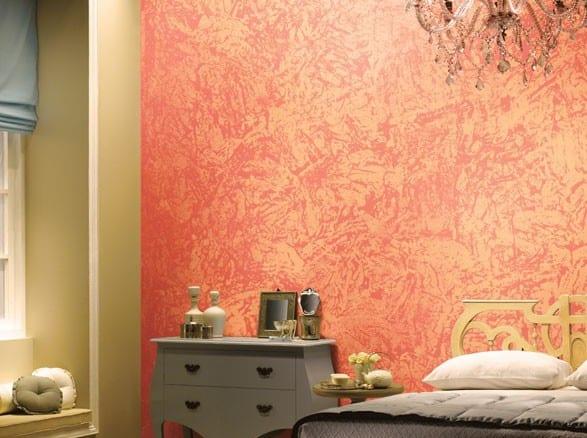schlafzimmer farbgestaltung in Apricot Farbe- grauer nachttisch