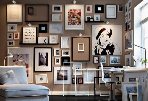 Arbeitszimmer Gestaltung Mit Weißen Möbeln Und Kreative Wanddekoration