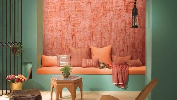 wandfarbe apricot-blaue wand - fresHouse