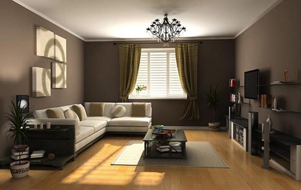 kleines wohnzimmer mit wänden braun und sofa weiß-gardinen grün