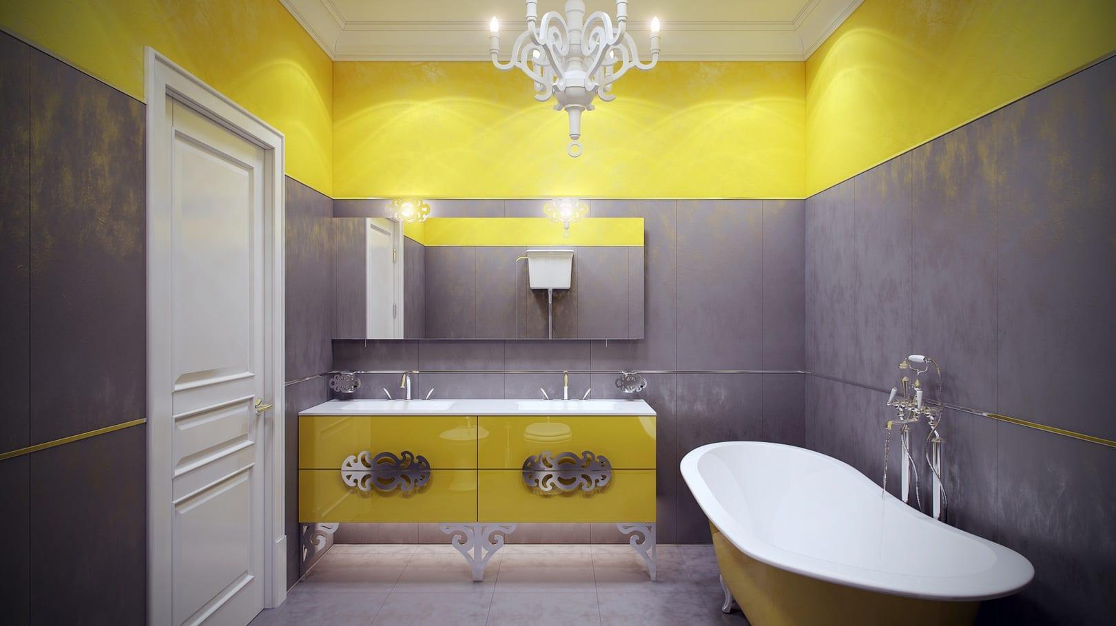 badezimmer gestalten mit grauen badezimmer fliesen und gelben wänden-gelbe freistehende badewanne-moderne badezimmer waschtischschrank in gelb