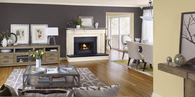wandfarbe grauwohnzimmer gestalten mit kamin freshouse