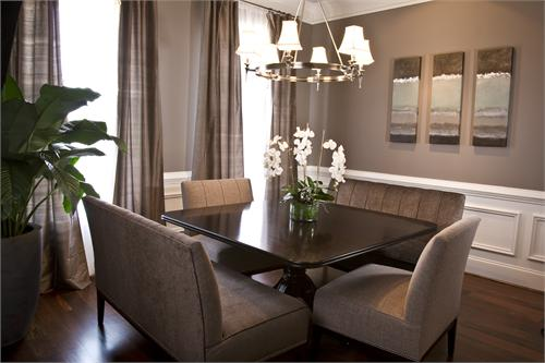 esszimmertisch schwarz mit grauen esszimmerstühlen-gardinen grau