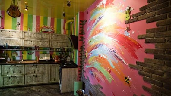 küche holz mit ziegel wandgestaltung- wandmuster küche
