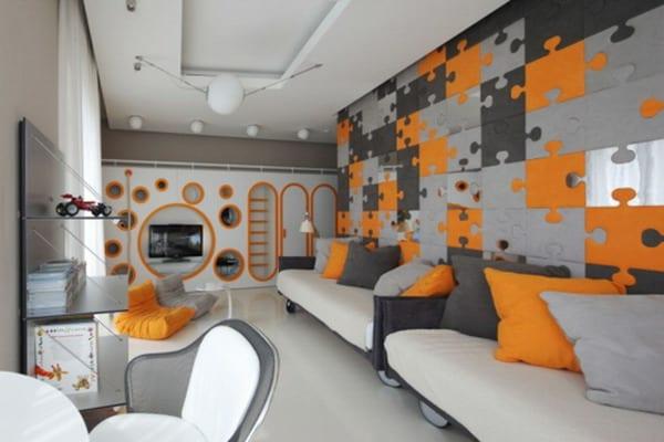 kinderzimmer gestalten mit eingebautem Wohnwand in weiß und orange- seats and sofas