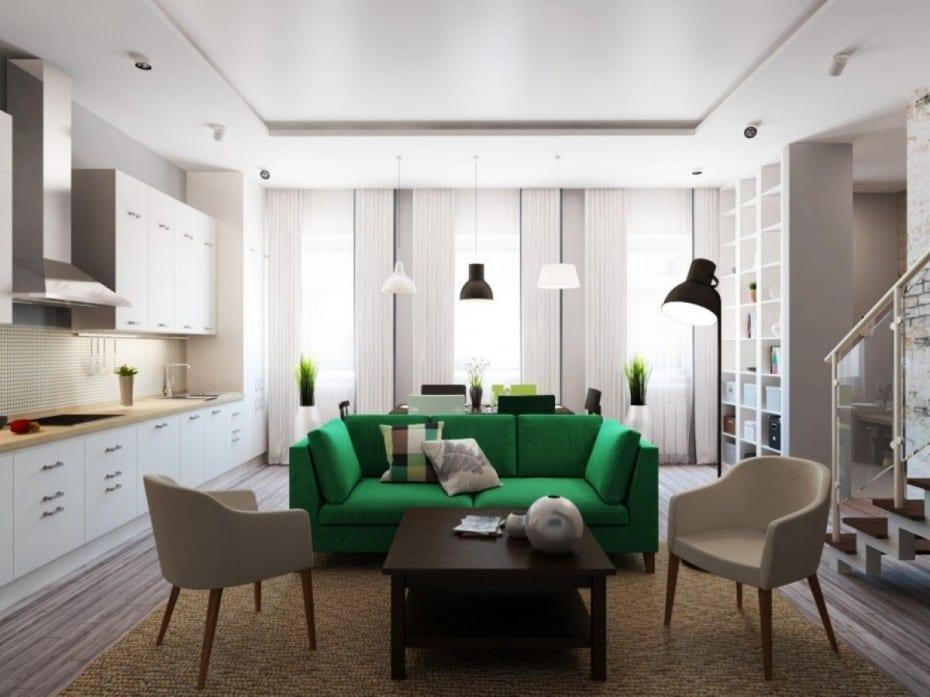 wohnzimmer inspirationen-kleines wohnzimmer einrichten mit sofa grün und wandregalsystem weiß