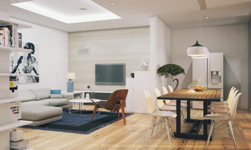esstisch holz mit weißen esszimmerstühlen-eckige weiße bücherregale-holzboden mit teppich blau
