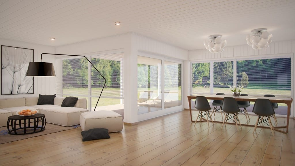 minimalistisches wohnzimmer mit holzboden und farbakzent schwarz-moderne stehleuchte schwarz- esszimmer holz