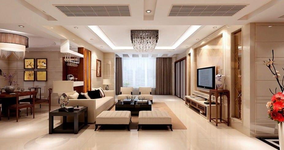 stylisches wohnzimmer mit weißen seats and sofas-wandtextur idee-moderne deckenleuchten