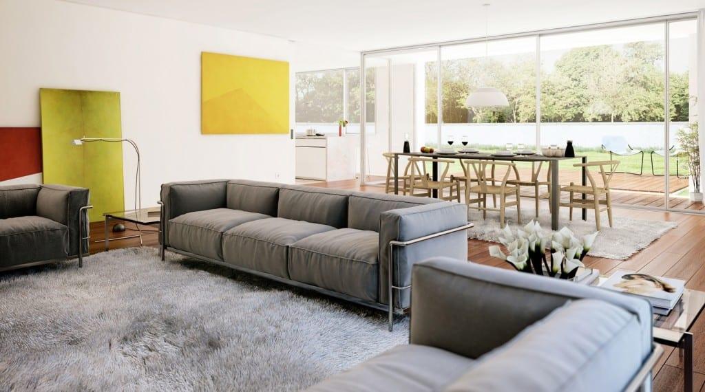 open space gestaltung mit  sofas grau und teppich grau-wohnesszimmer mit  großformatigen schiebefenstertüten zur  terrasse