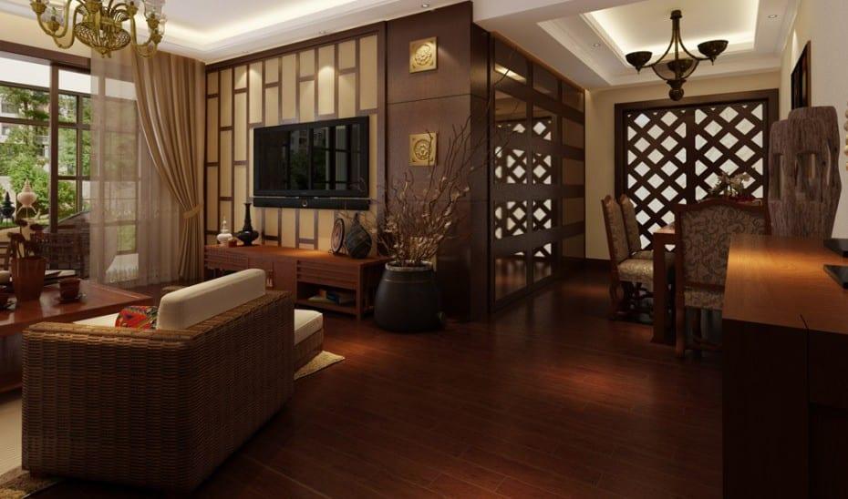 wohnzimmer design mit rattansofa und holzboden- wandgestaltung in braun
