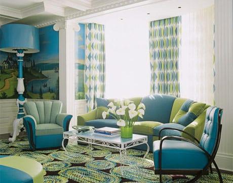 farbgestaltung wohnzimmer in blau und grün- gardinen grün und blau