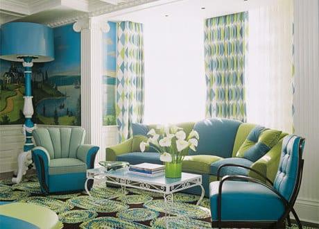 wohnzimmer blau - moderner teppich in grün und blau - freshouse - Wohnzimmer Mit Blau