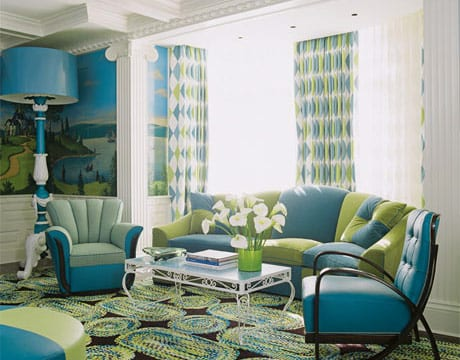 Teppich wohnzimmer grun  Wohnzimmer Blau - Ideen für ein schönes Wohnzimmer - fresHouse