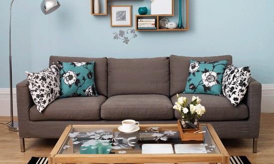 Wohnzimmer blau-wandgestaltung - fresHouse