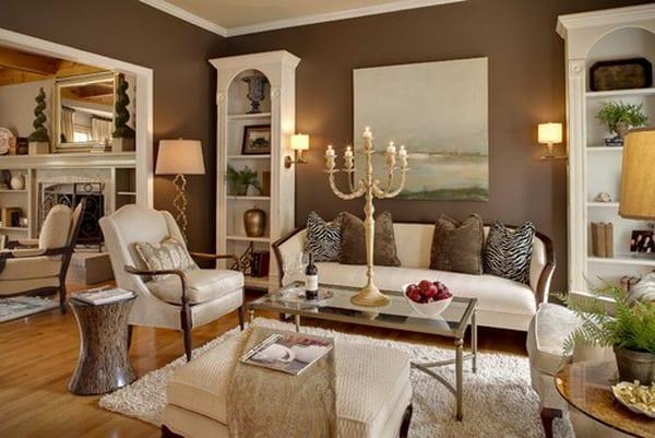wandfarbe braun-wohnzimmer desin mit möbel weiß-laminatboden mit teppich weiß