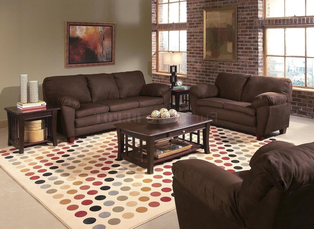 modernes wohnzimmer mit ziegelwänden und sofas braun-wohnzimmer teppich beig mit punkmuster