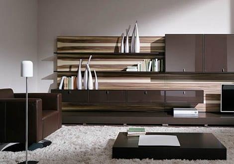 luxus wohnzimmer einrichten mit wohnwand braun und holz-couchtisch ideen