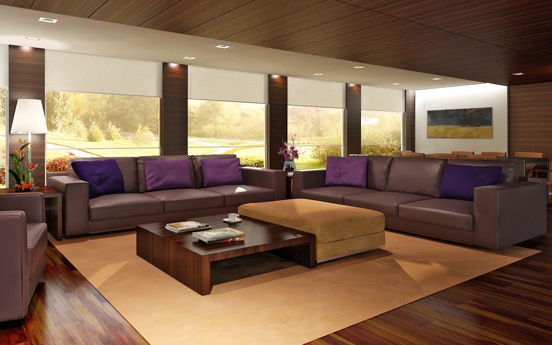 modernes wohnzimmer mit deck- und wandverkleidung holz- lila seats and sofas-panoramafenster mit weißen fensterrollos