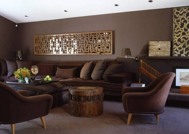 kreative wandgestaltung-seats and sofas aus samt braun-couchtisch rund aud holz