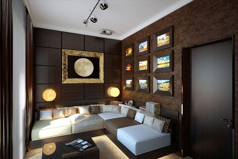 kleines wohnzimmer einrichten in braun mit ecksofa weiß und braun-bilderrahmen dekorieren