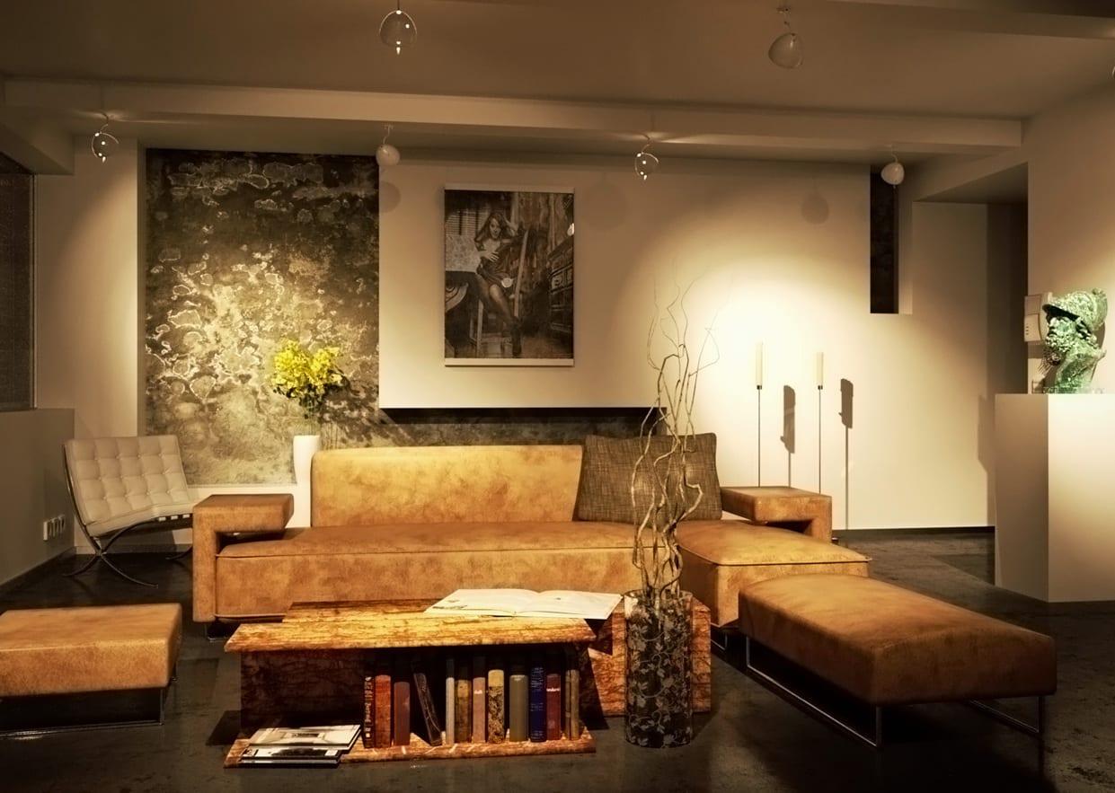 wohnzimmer interior mit designer seats and sofas-DIY couchtisch-moderne deckenleuchten