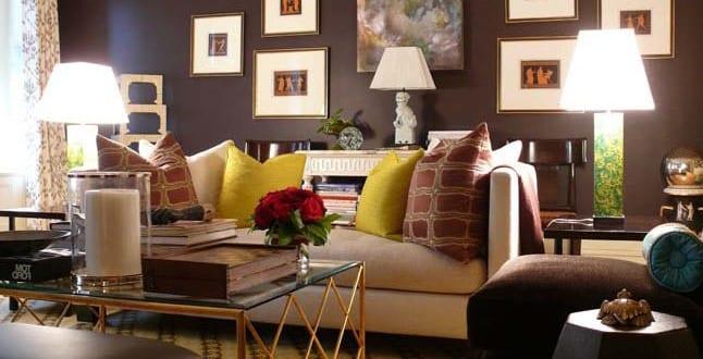 wohnzimmer gemutlich streichen braun home design und