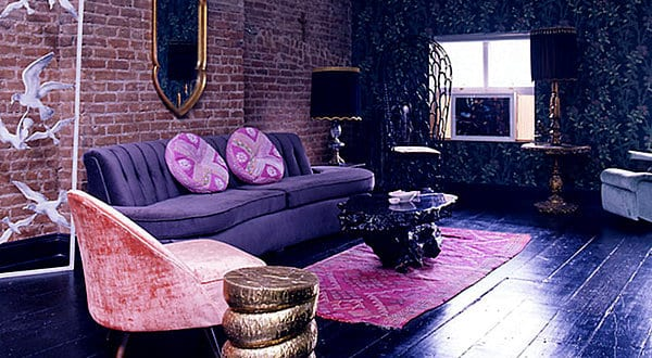 Wohnzimmer Farbgestaltung In Lila Und Dunkelblau