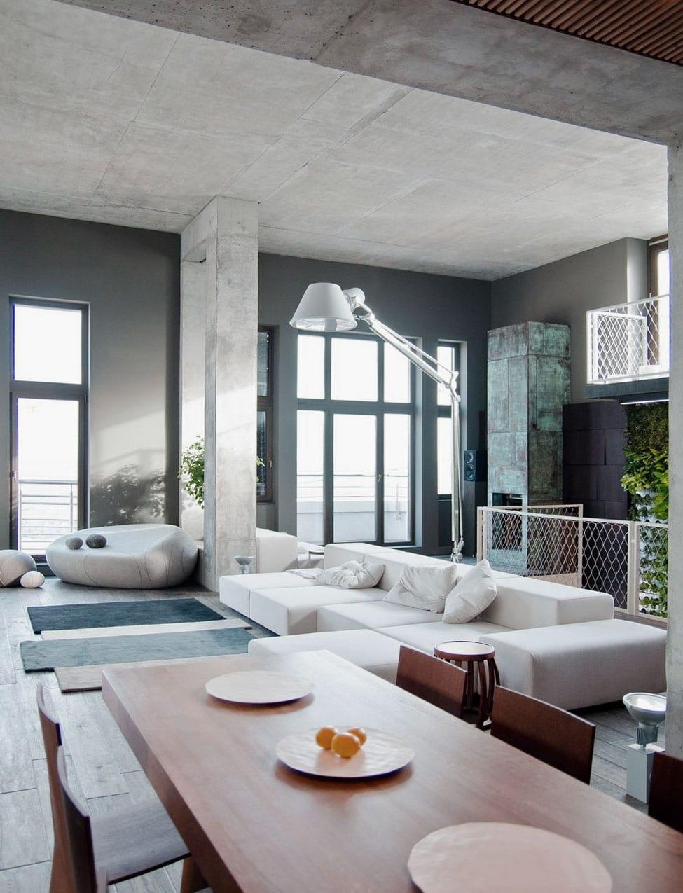 modernes esszimmer aus beton mit wandfarbe grau-moderne seats and sofas weiß