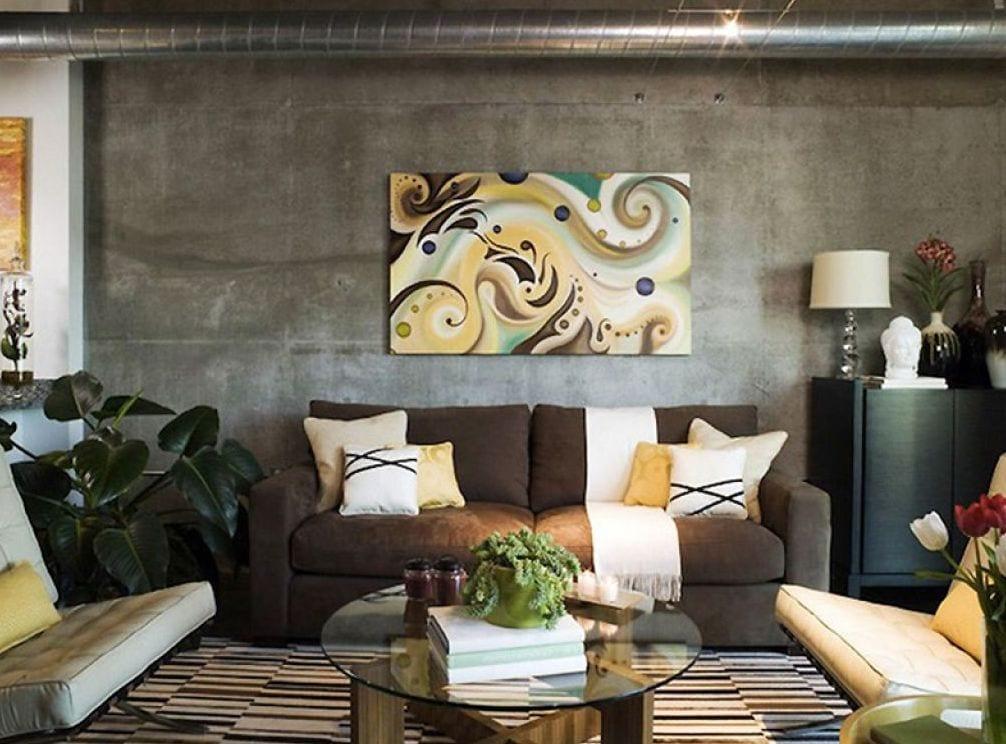 modernes wohnzimmer mit sichtbetonwand und sitbarer luftunginstalation