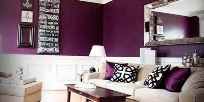 wohnzimmer lilla- wand lila und weiß - fresHouse