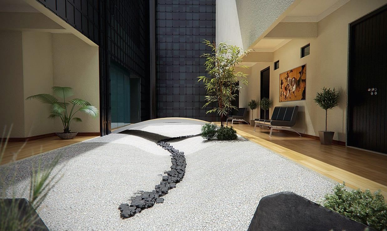 minimalistisches haus design mit japanischem Traumgarten im Eingangsbereich