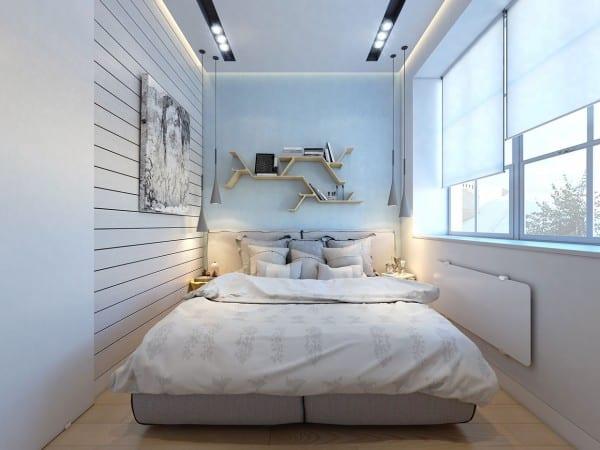 modernes schlafzimmer weiß mit wandfarbe Hellblau und pendelleuchten-Bücherregal holz