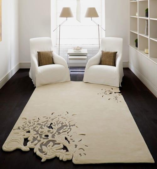 moderner hochtepich weiß- kleines wohnzimmer einrichten