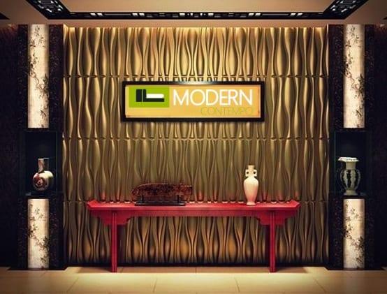 luxus wohnzimmer mit goldener wandfarbe und umwelfreundlichen 3d wandpaneelen- sideboard rot dekorieren