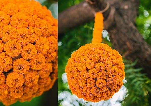 coole dekoration mit ringelblumen
