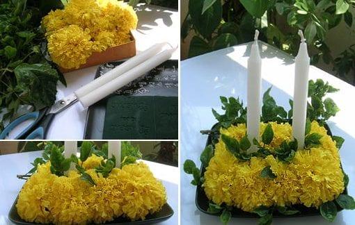 gelbe ringelblumen als kerzenhalter-deko