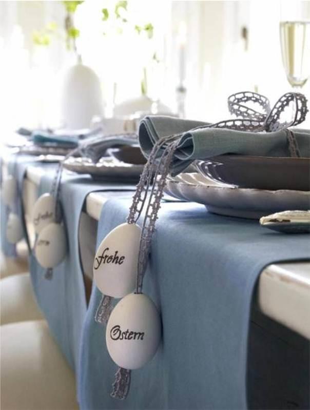 frohes ostern bilder für tischdekoration mit rosen