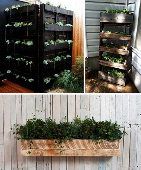 gartengestaltung mit Pflanzer aus paletten