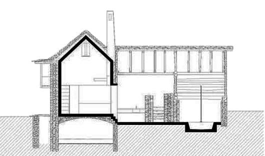 umbauprojekt vom steinbau mit Innenraum aus Beton