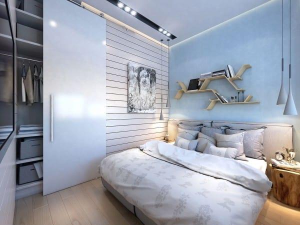 kleines schlafzimmer einrichten mit eingebautem TV und Kleiderschrank