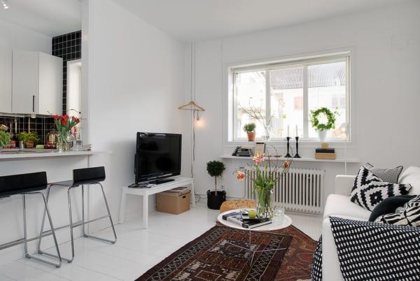 kleines wohnzimmer gestalten mit tv sideboard und sofa weiß_Wohnzimmer mit küche und Bar