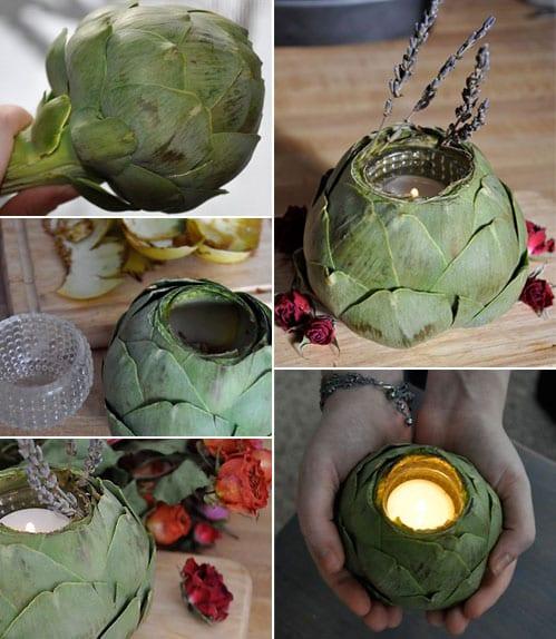 coole bastelideen für diy teelichthalter aus artischocken