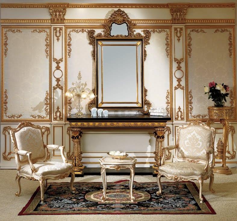 luxus wohnzimmer einrichten im klassischen barock stil mit sideboard barock und wandgestaltung in goldenen barockelementen