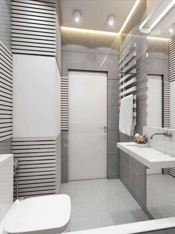 modernes badezimmer grau mit wandverkleidung und wandfliesen grau-moderner waschtisch weiß